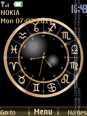 Zodiac Signs & Clock theme screenshot