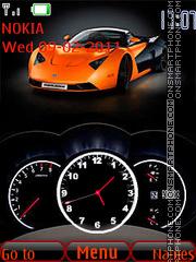 Orange car and Clock theme screenshot