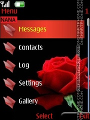 Red Rose Clock theme screenshot