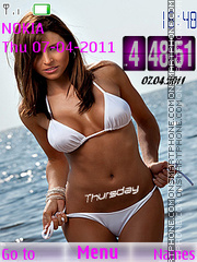 Girl Bikini Clock theme screenshot