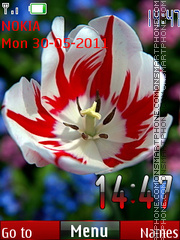 Red Flower Clock theme screenshot